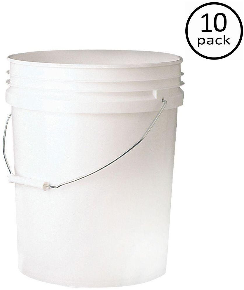 Food Storage Container BPA Free 10-Pack 5 Gallon Nesting .090 Inches Buckets 1
