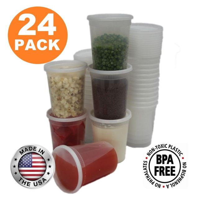 Food Storage Containers with Lids Round Plastic Deli Cups US Made 32 oz Quart... 10