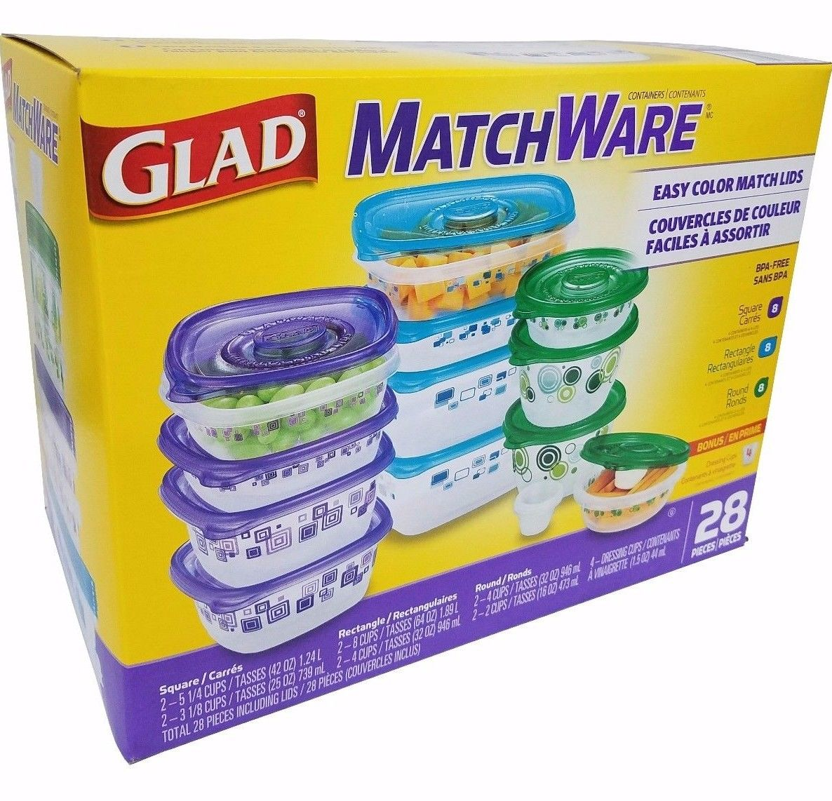 Glad Matchware Food Containers Microwave/Dishwasher/Freezer BPA Free - 28 Pc Set 1
