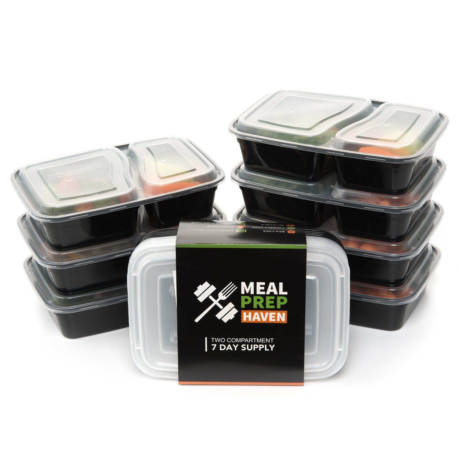 Meal Prep Food Containers Lunch Box Microwave Safe 2 Compartment Bento 7 pcs 1