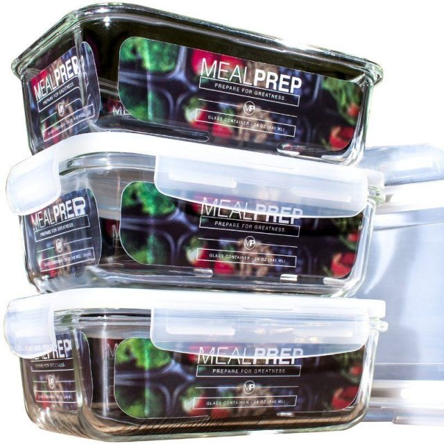 Premium Glass Meal Prep Food Storage Container 6-Piece Set with Snap Locking Lid 9