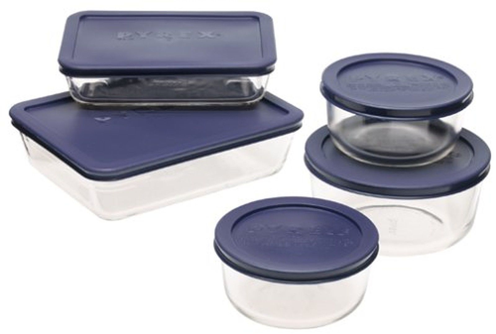 Pyrex Simply Store 10-Piece Glass Food Storage Set with Blue Lids 1
