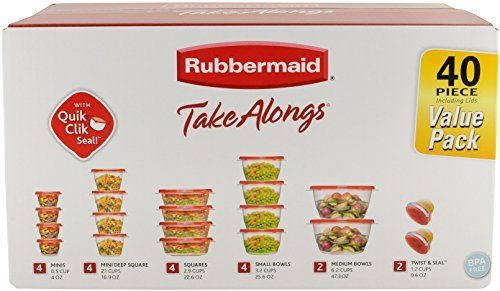 Rubbermaid TakeAlongs Assorted Food Storage Container, 40 Piece Set, Racer Red 3