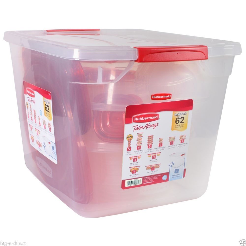 62 pc Rubbermaid TakeAlongs Kitchen Plastic Food Storage Container Set Lunch Box 1