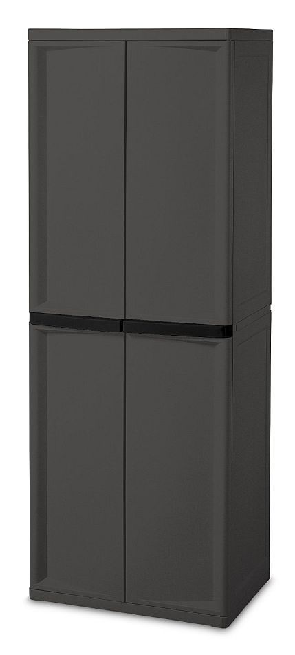 Large Utility Cabinet Storage Bin Pantry Tool Garage Hobby Food 4 Shelves Doors 1