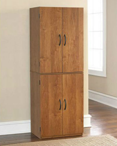 Tall Kitchen Pantry Shelf Food Storage Cabinet Wood Cupboard Bathroom Organizer 1