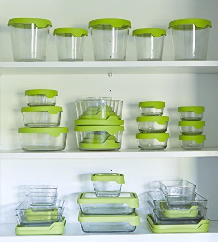 Anchor Hocking TrueSeal Glass Food Storage Containers with Airtight Lids, Green, 1