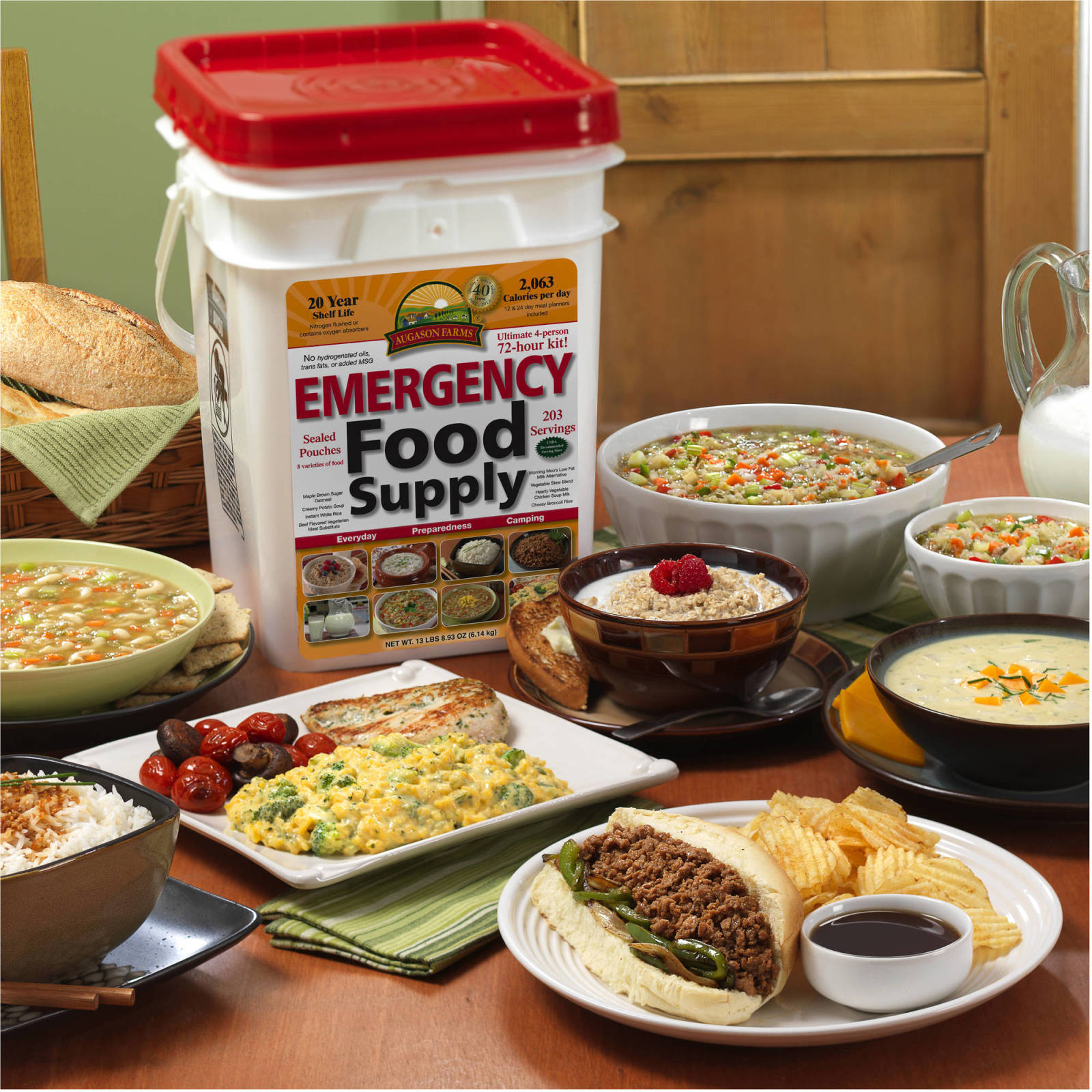 Emergency Food Supplies Augason Farms 176 Servings Storage Survival Bucket MREs 1