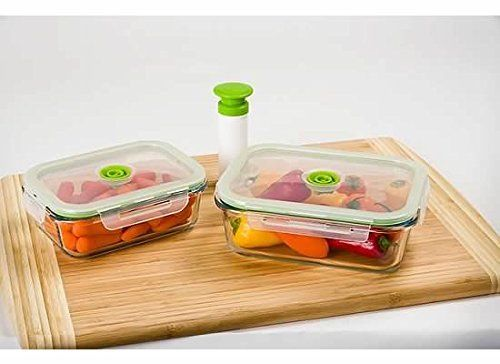 FBAS-LASTFBA40140-Lasting Freshness 5-pc Glass Vacuum Food Storage Containers, 1