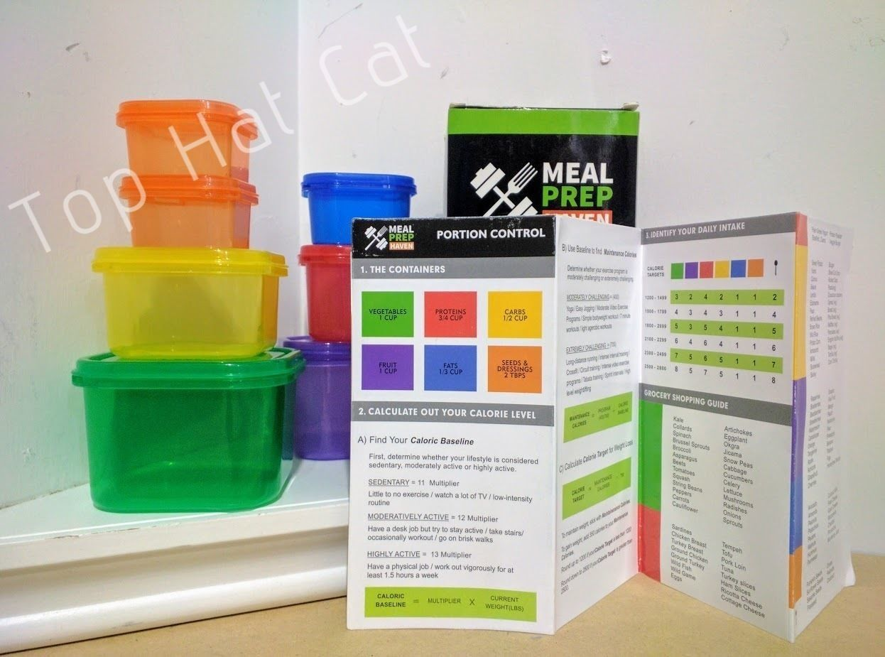 NEW Meal Prep Haven 7 Piece Multi-Colored Portion Control Container Kit w/ Guide 1
