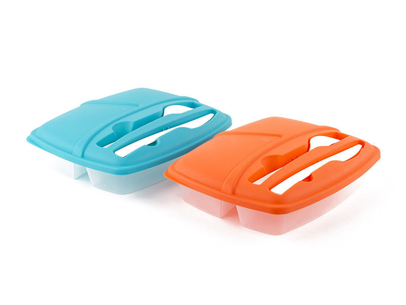 Pack of 2 Plastic Bento Lunch Box Set with Utensils - Food Storage Containers 1