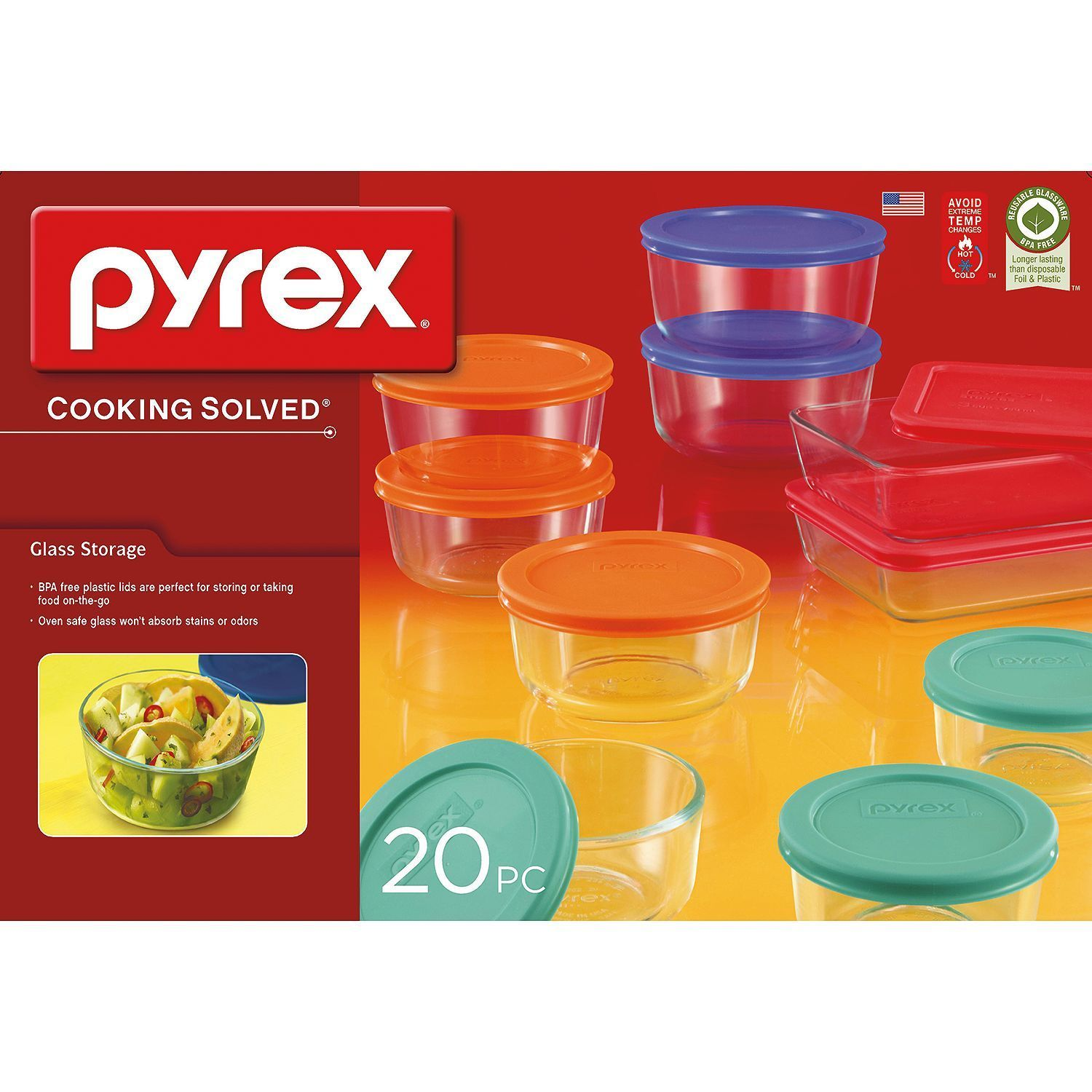 Pyrex 20-Piece Glass Storage Set Containers w/ lids Great Bakeware and Serving 1