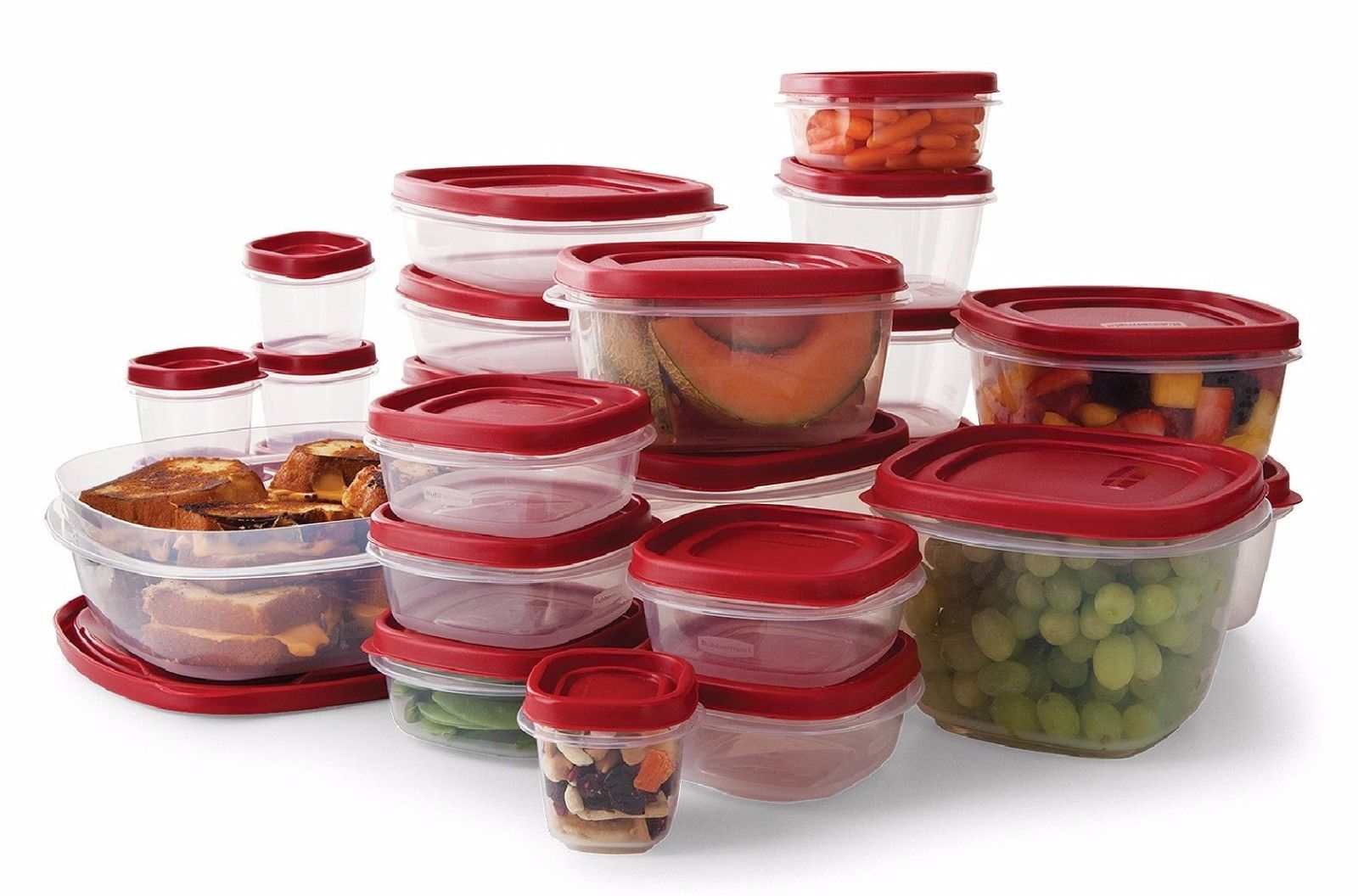 Rubbermaid 50-Piece Easy Find Lids Food Storage Set Microwave Freezer Top Shelf 1