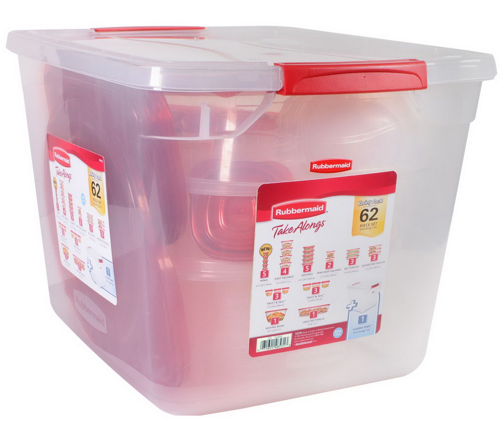 Rubbermaid 62 Piece Food Storage Containers Set TakeAlongs Clear Plastic 1