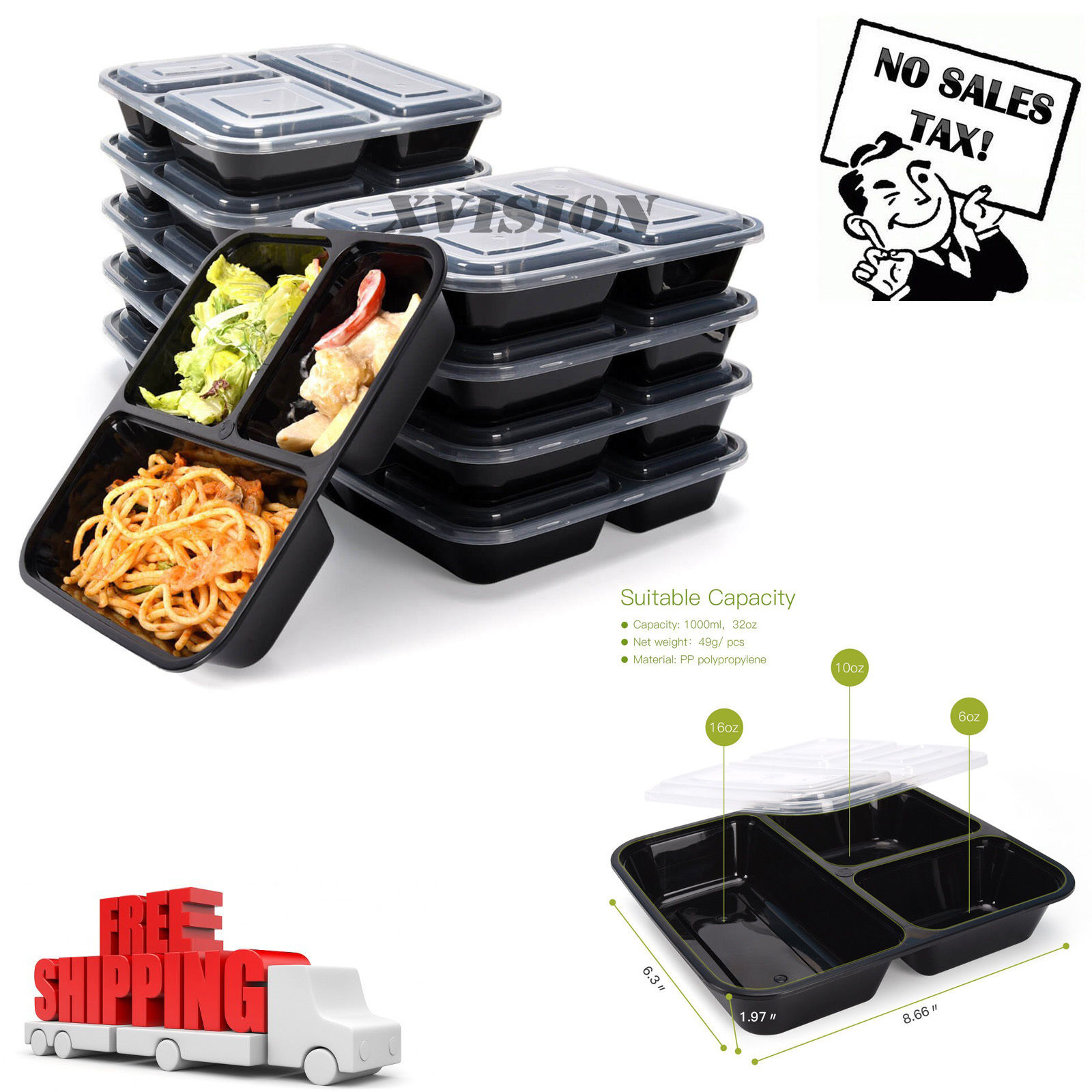 10 Meal Prep Containers 3 Compartment Food Storage Reusable Microwavable Plastic 1