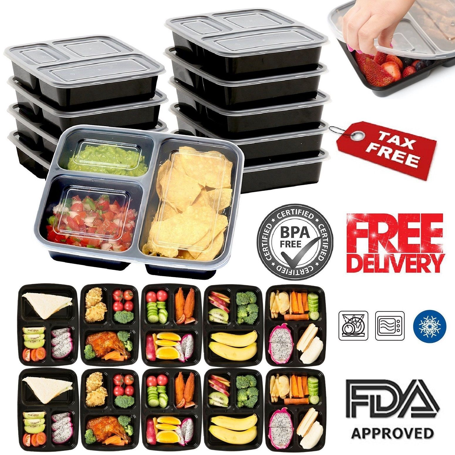10 Meal Prep Containers Plastic Food Storage 3 Compartment Reusable Microwavable 1