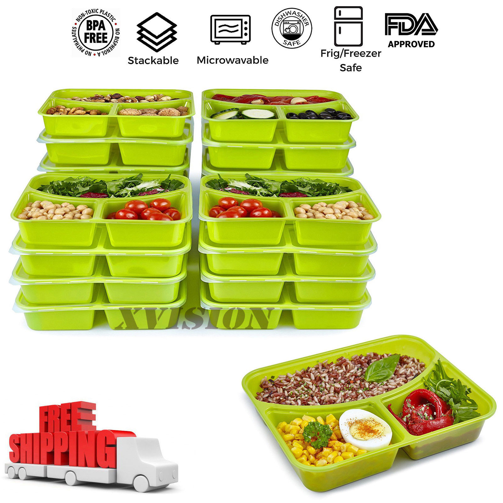 20 Meal Prep Containers 3 Compartment Food Storage Plastic Reusable Microwavable 1