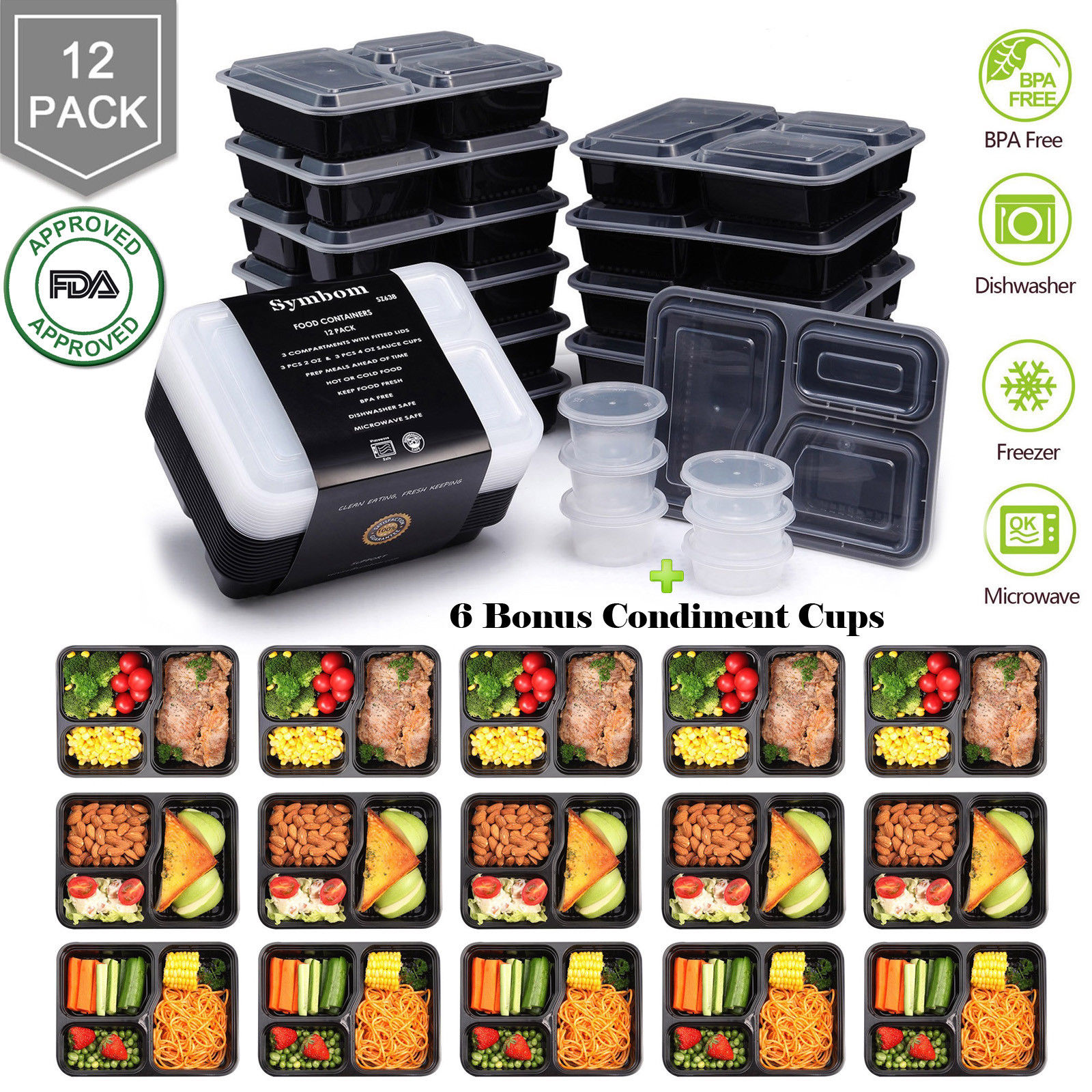 12 Meal Prep Containers Food Storage 3 Compartment Plastic Reusable Microwavable 1