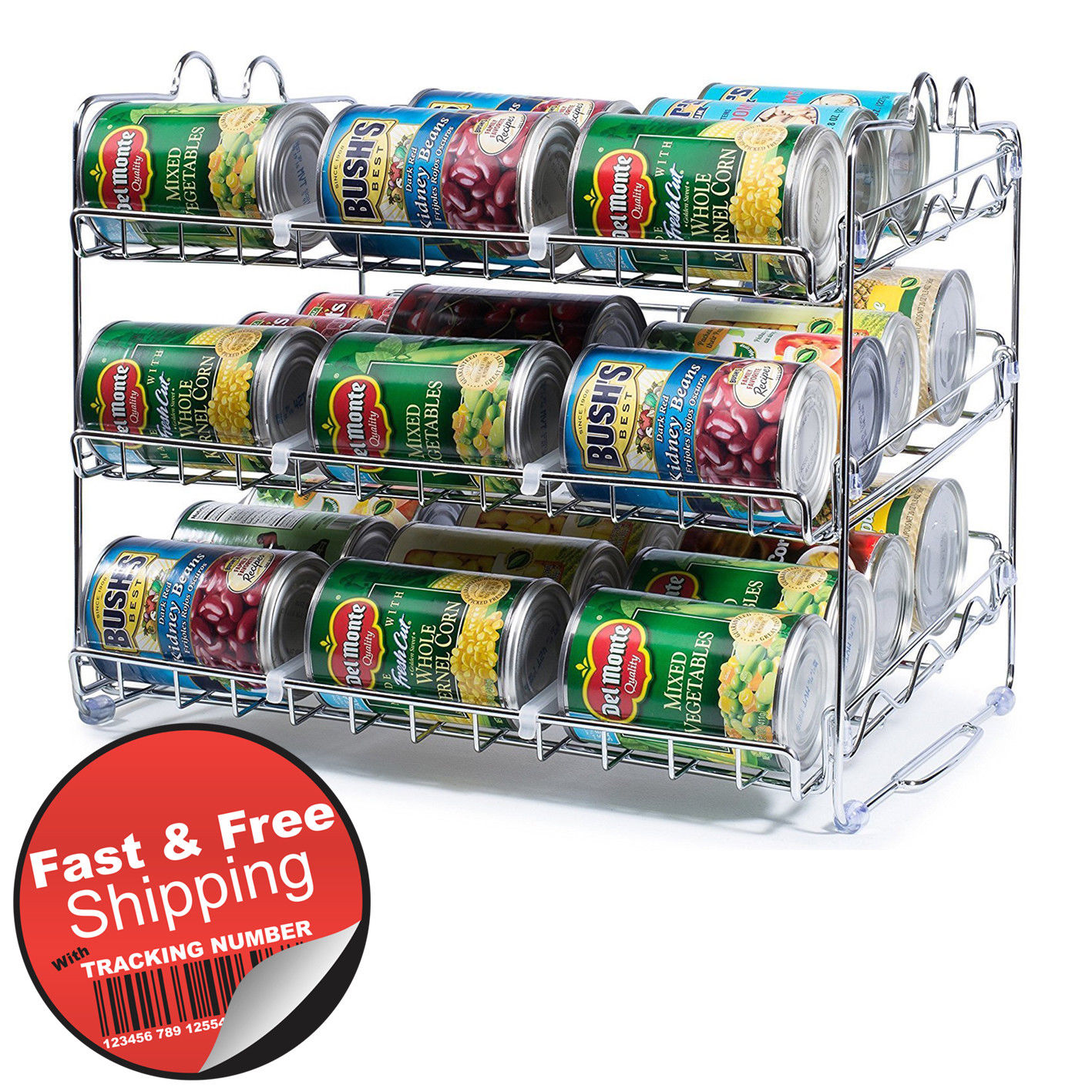 Can Food Storage Organizer Kitchen Cabinet Pantry 36 Canned Goods Shelf Rack NEW 1