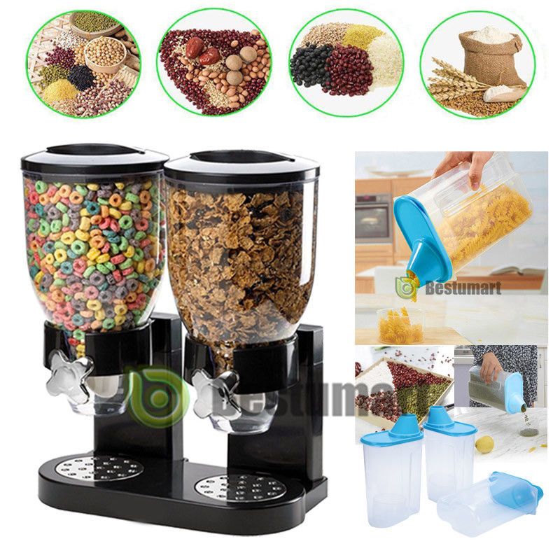 DOUBLE CEREAL DISPENSER DRY FOOD STORAGE CONTAINER DISPENSER MACHINE 2 COLOURS 1