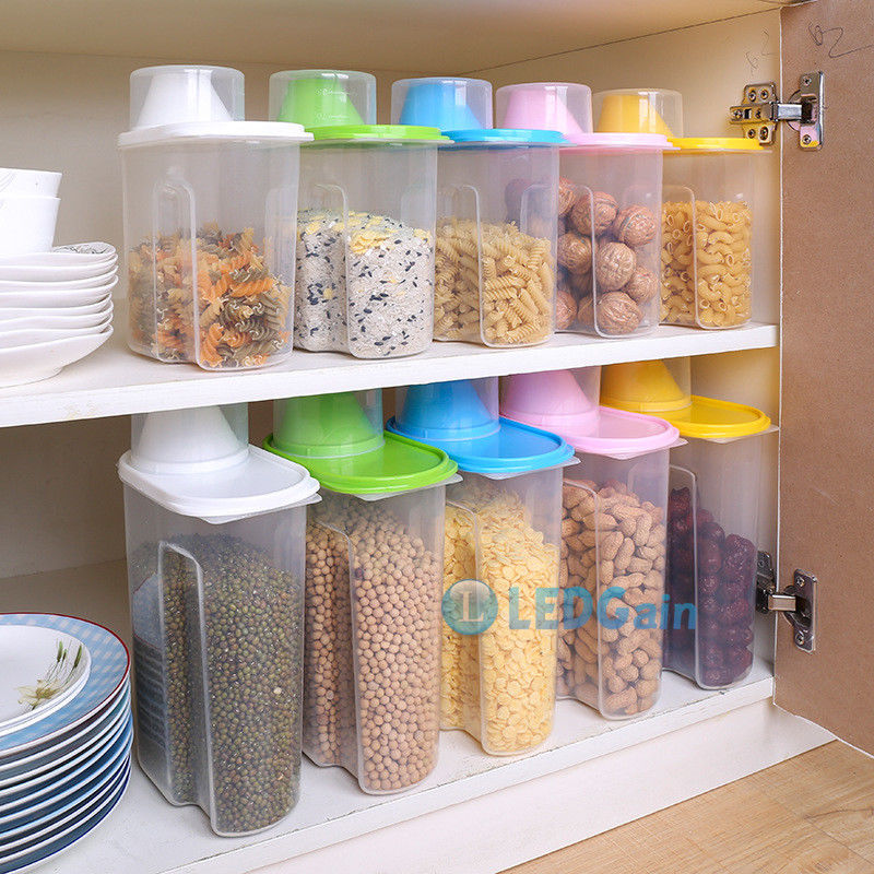3x Plastic Cereal Dispenser Storage Box Kitchen Food Grain Rice Snacks Container 1
