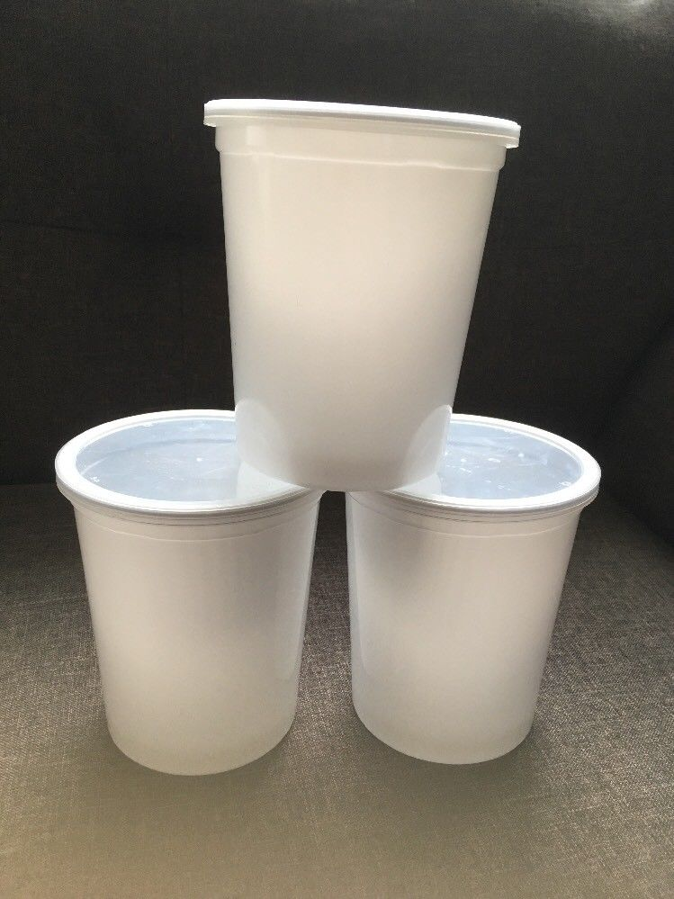 Lot Of 3 Reusable White Plastic Food Storage Tubs Containers 1