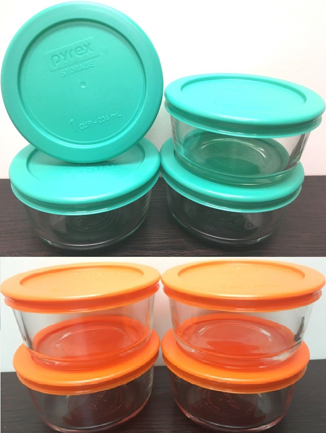 Pack of 4 Pyrex Round Glass Food Storage Container W/Lid 1,2cup ORANGE BLUE 1