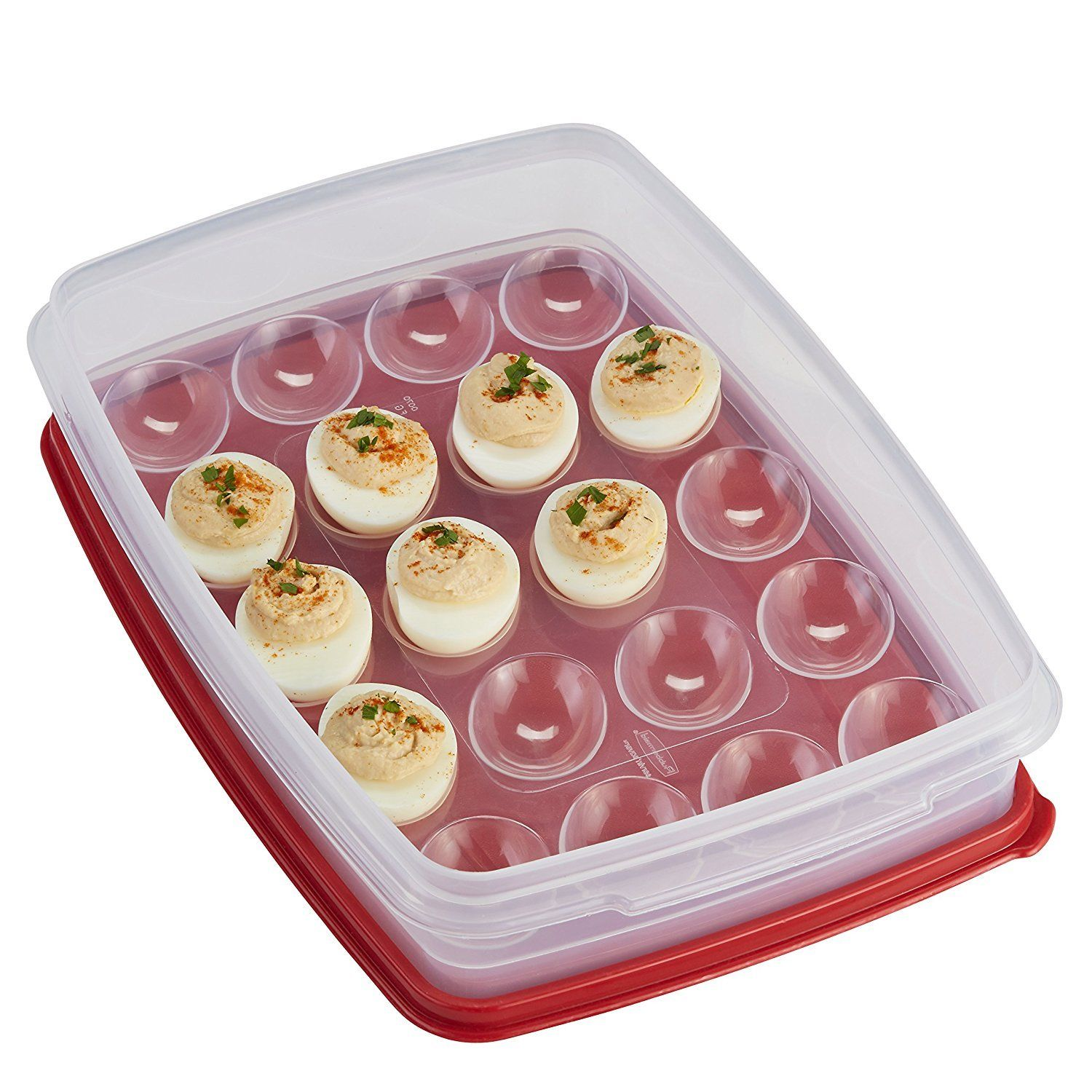 Rubbermaid Deviled Egg Keeper Tray - Food Storage Container, Red. Holds 20 Eggs! 1
