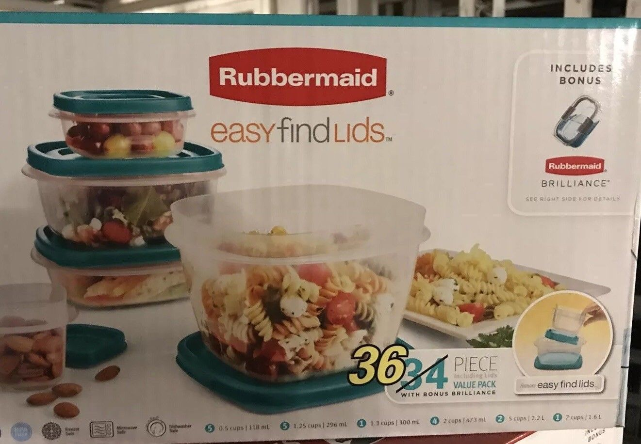 Rubbermaid Food Storage Container Set 36 Piece Easy Find Teal Lids PBA Free USA 1