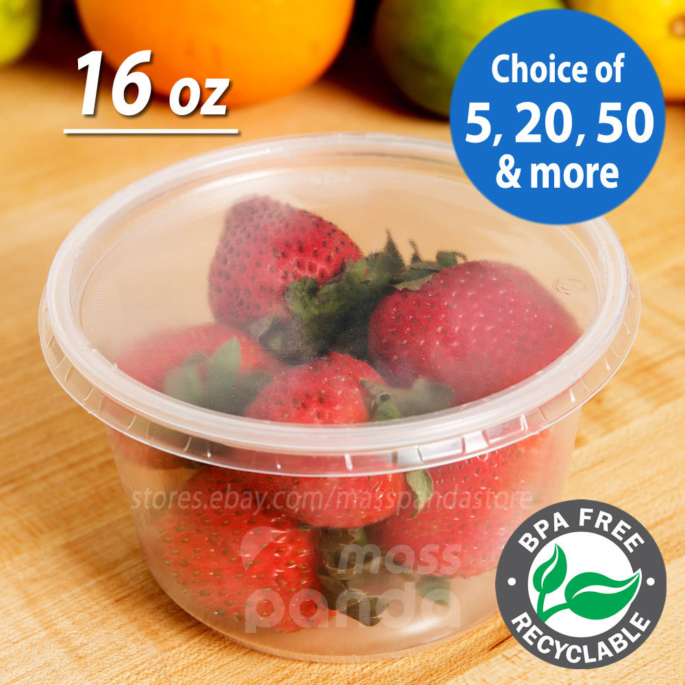 16oz Round Deli Food/Soup Storage Containers w/ Lids Microwavable Clear Plastic 1