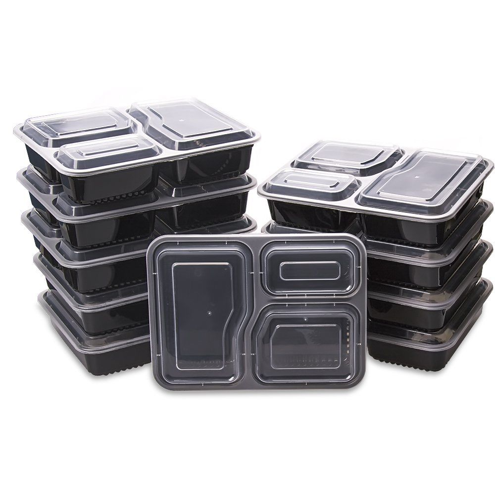 50 Meal Prep Containers 3 Compartment Reusable Plastic Food Storage Diet Control 1