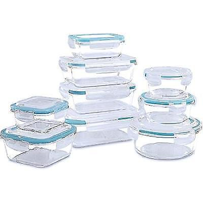 Glass Food Storage Container Set - 18 Pieces (9 containers+9 lids) Transparent 1