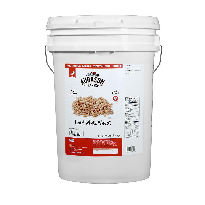 Augason Farms Hard White Wheat - 45 lb Bucket Emergency Survival Food Storage 1