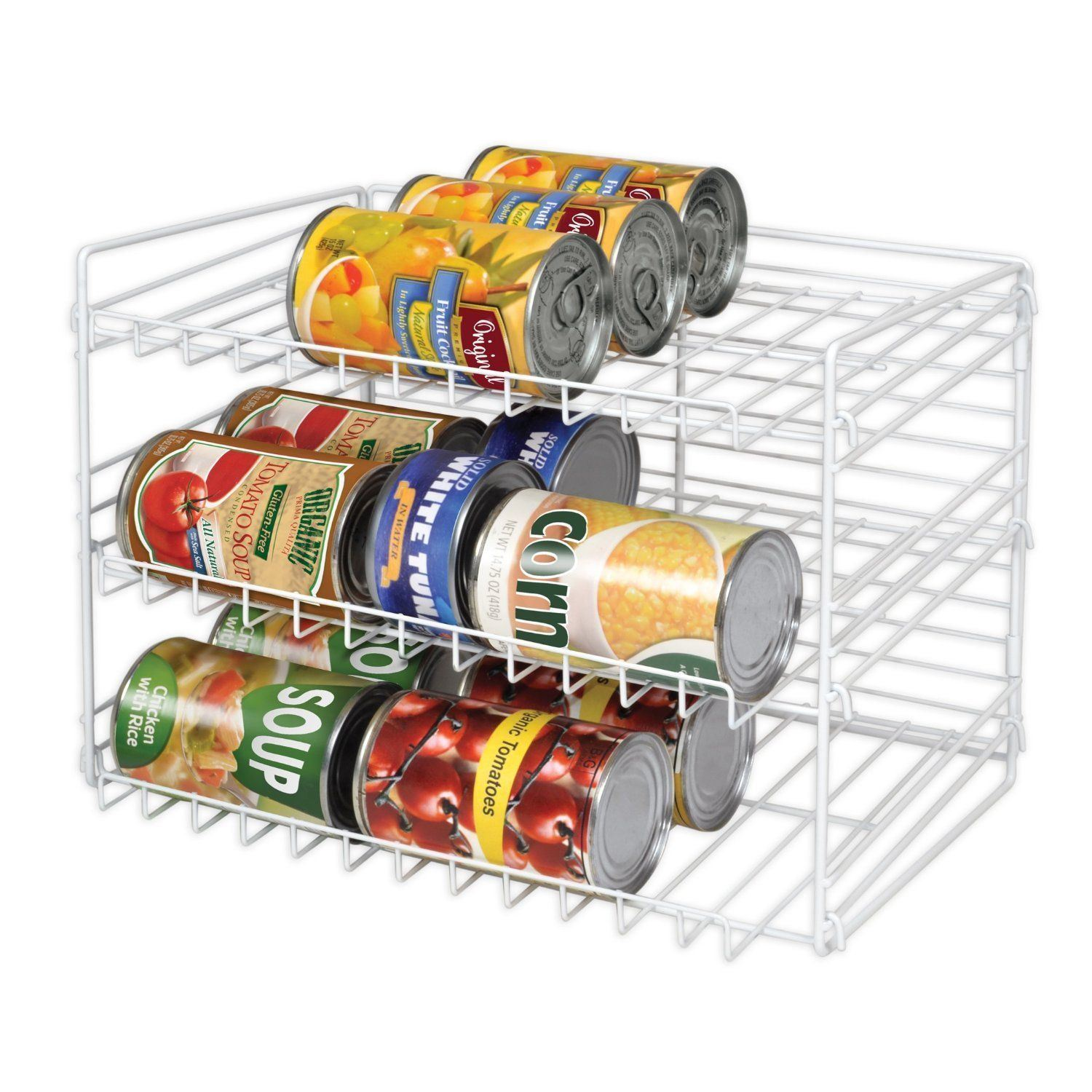 Kitchen Can Food Storage Rack Organizer Pantry Shelves Goods Cans Shelf Holder 1