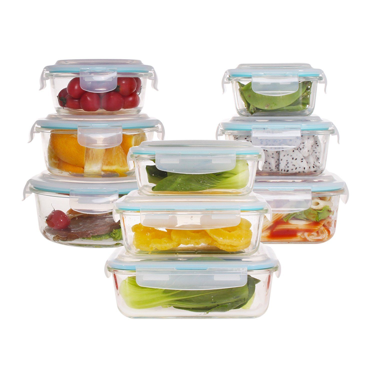 18-piece Glass Food Storage Container Set with Airtight Locking Lids Glass, Meal 1