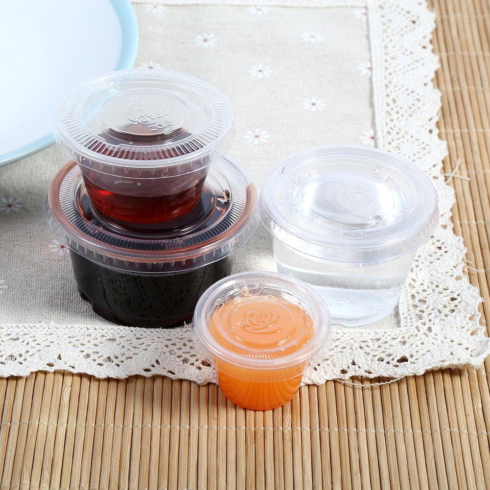 50/100pcs Plastic Sauce Cup Food Storage Container w/ Lids Disposable 1/2/3/4 OZ 1