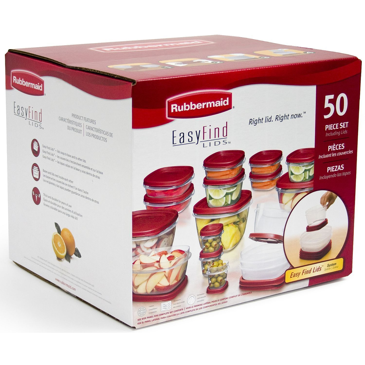 50pc Rubbermaid EasyFind Lids Food Storage Set lot Containers Plastic 1