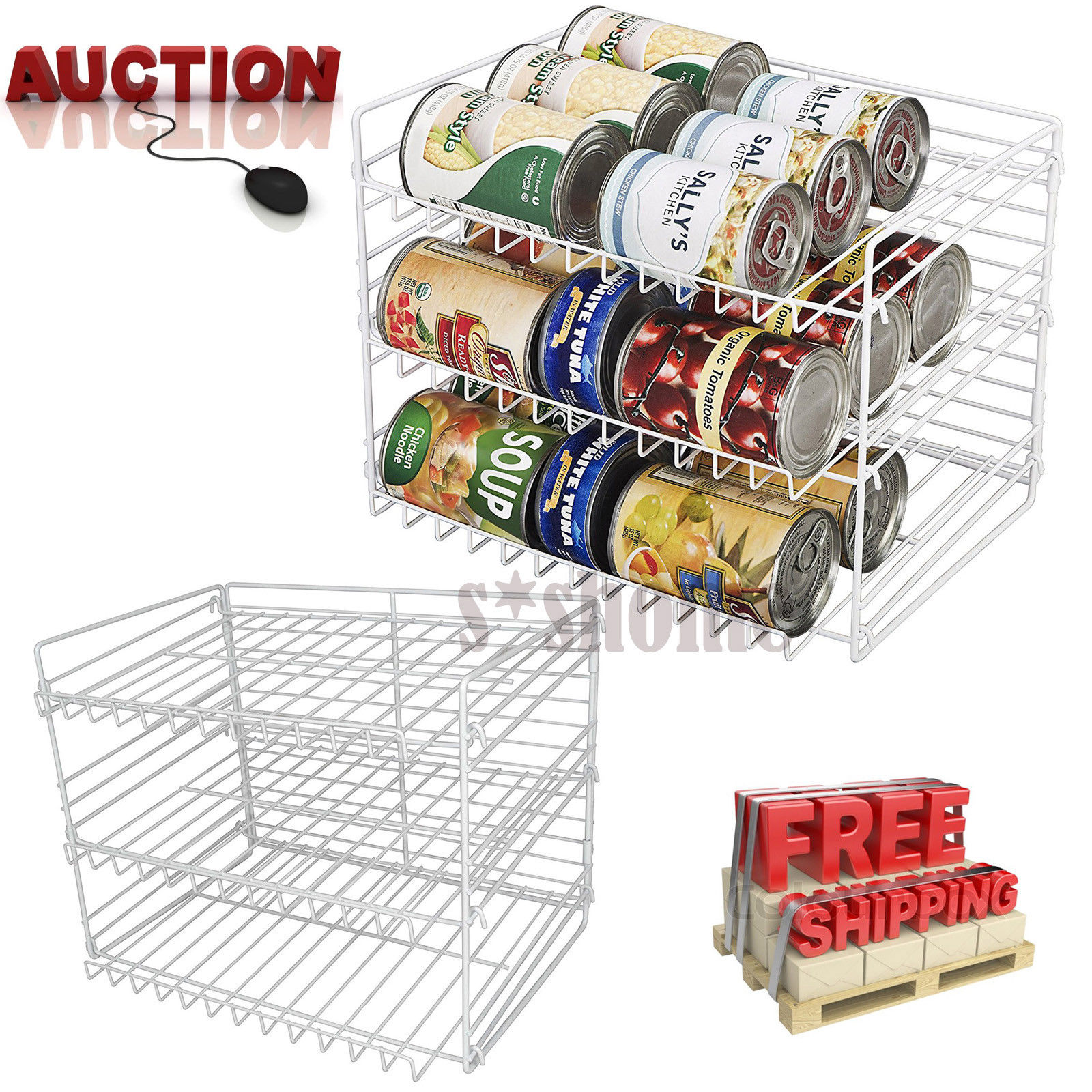 Can Food Storage Organizer Kitchen Pantry Cabinet Canned Goods Rack Holder Shelf 1