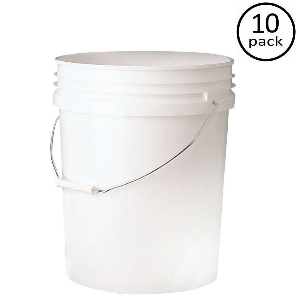 10 Pack White Premium 5 Gallon Plastic Food Storage Container Pail Bucket Holder 1