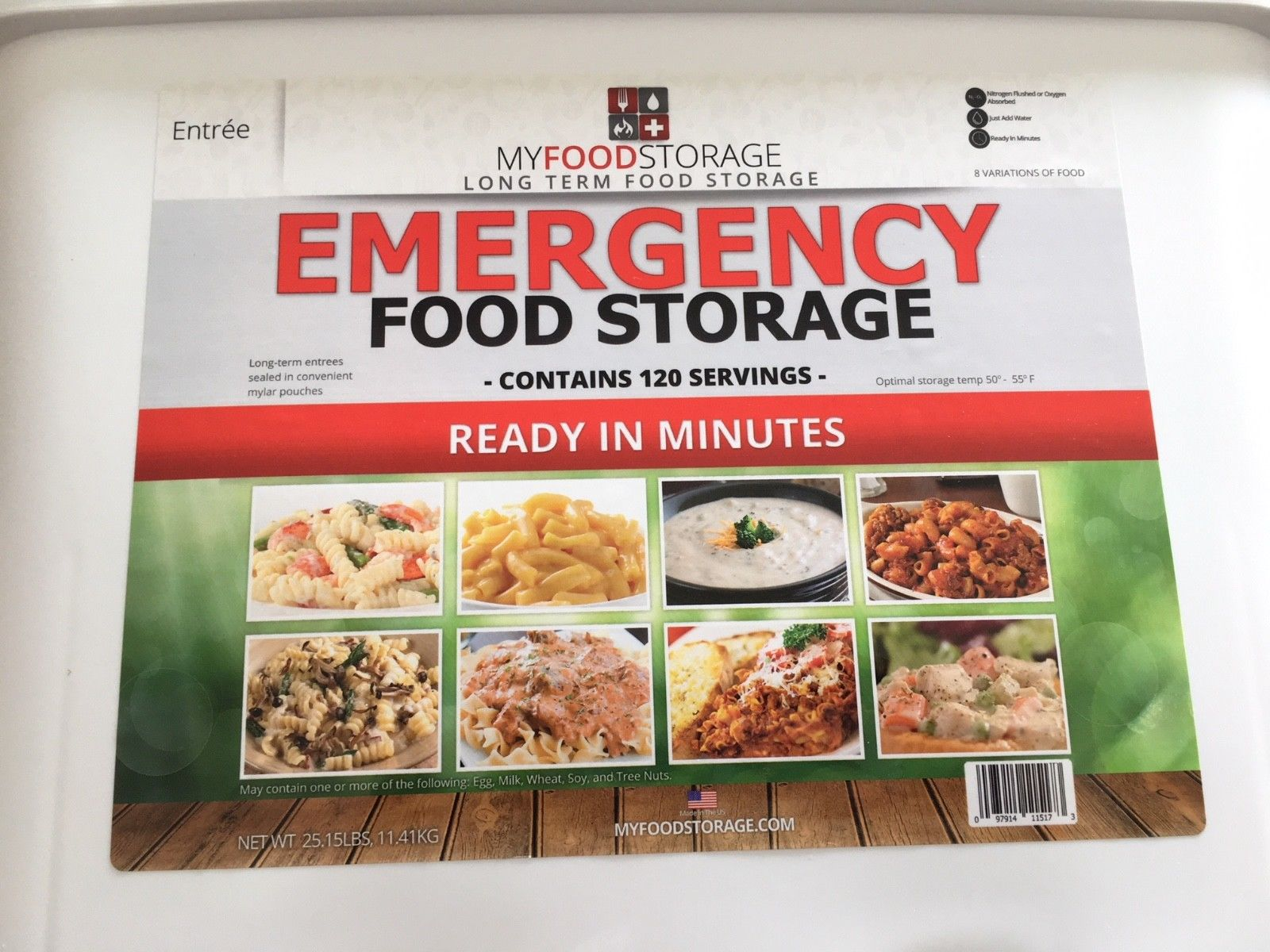 Emergency Food Supply: My Food Storage [brand], Dinner Entrees, 120 Servings 1