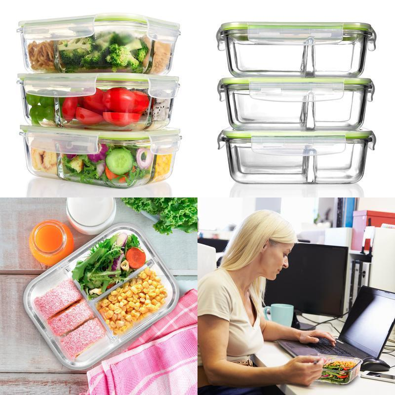 Me.Fan Glass Meal Prep Food Storage Containers [3 Pack] 3-Compartment Container 1