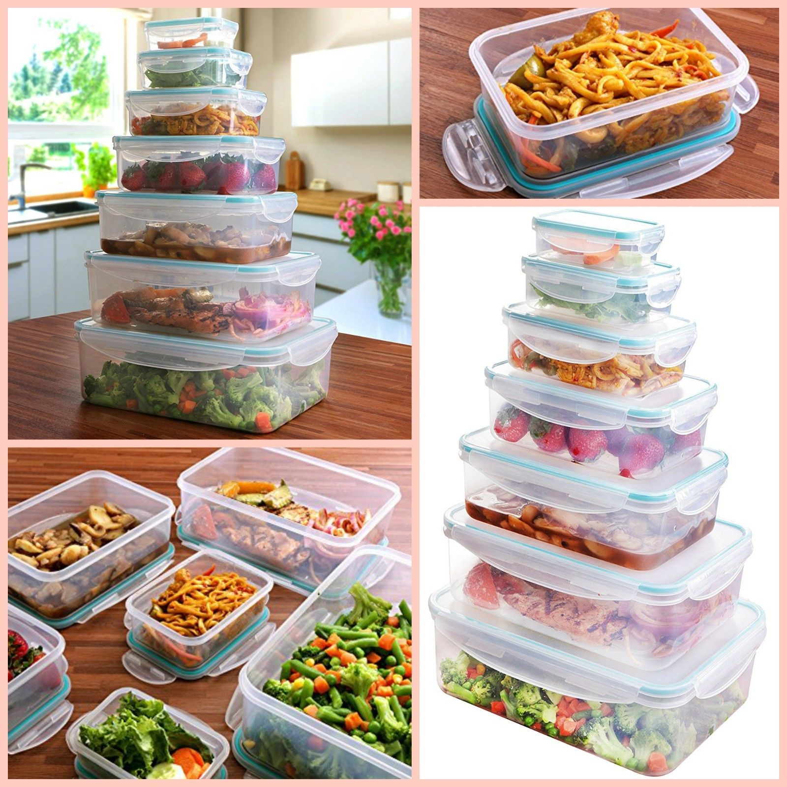 Plastic Food Storage Containers With Lids BPA Free Reusable Boxes Foodsaver 1