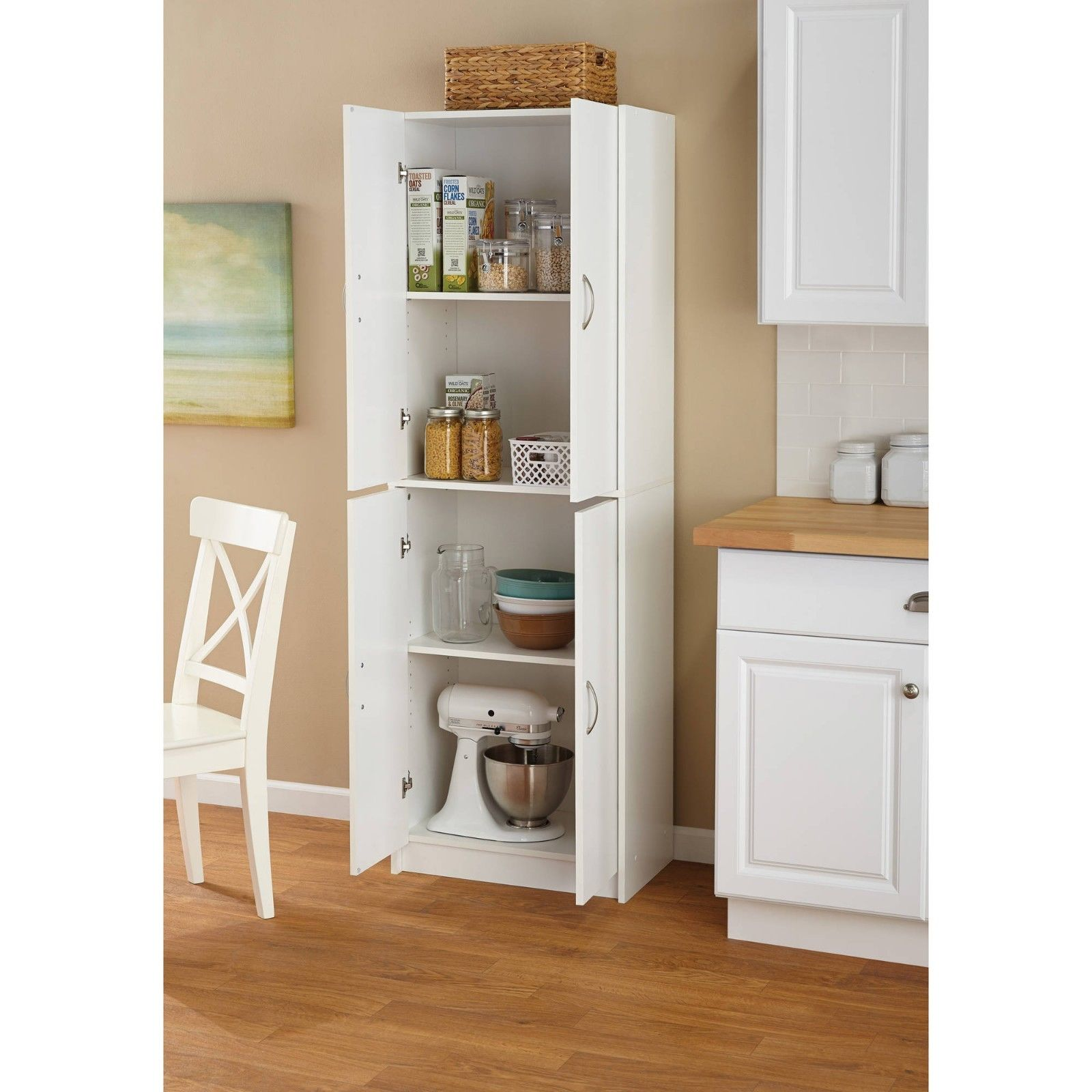 Food Pantry Storage White Kitchen Cabinet 4 Door Cupboard Organizer 4 Shelves 1