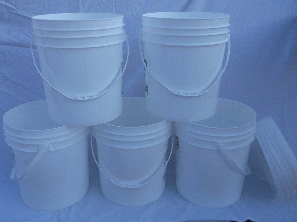 5 FOOD GRADE USED PLASTIC 4 GALLON ROUND BUCKETS PAILS W LIDS HANDLES STORAGE PP 1