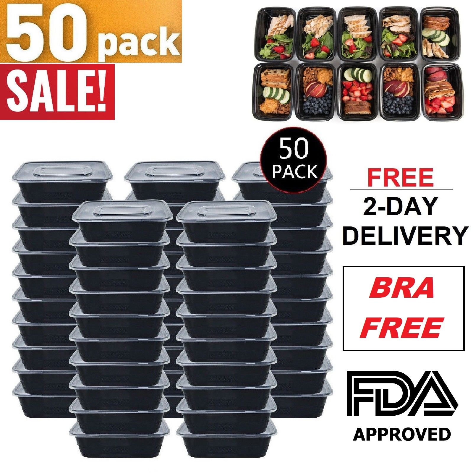 50 Meal Prep Containers 1 Compartment Food Storage Boxes Reusable Microwave Safe 1