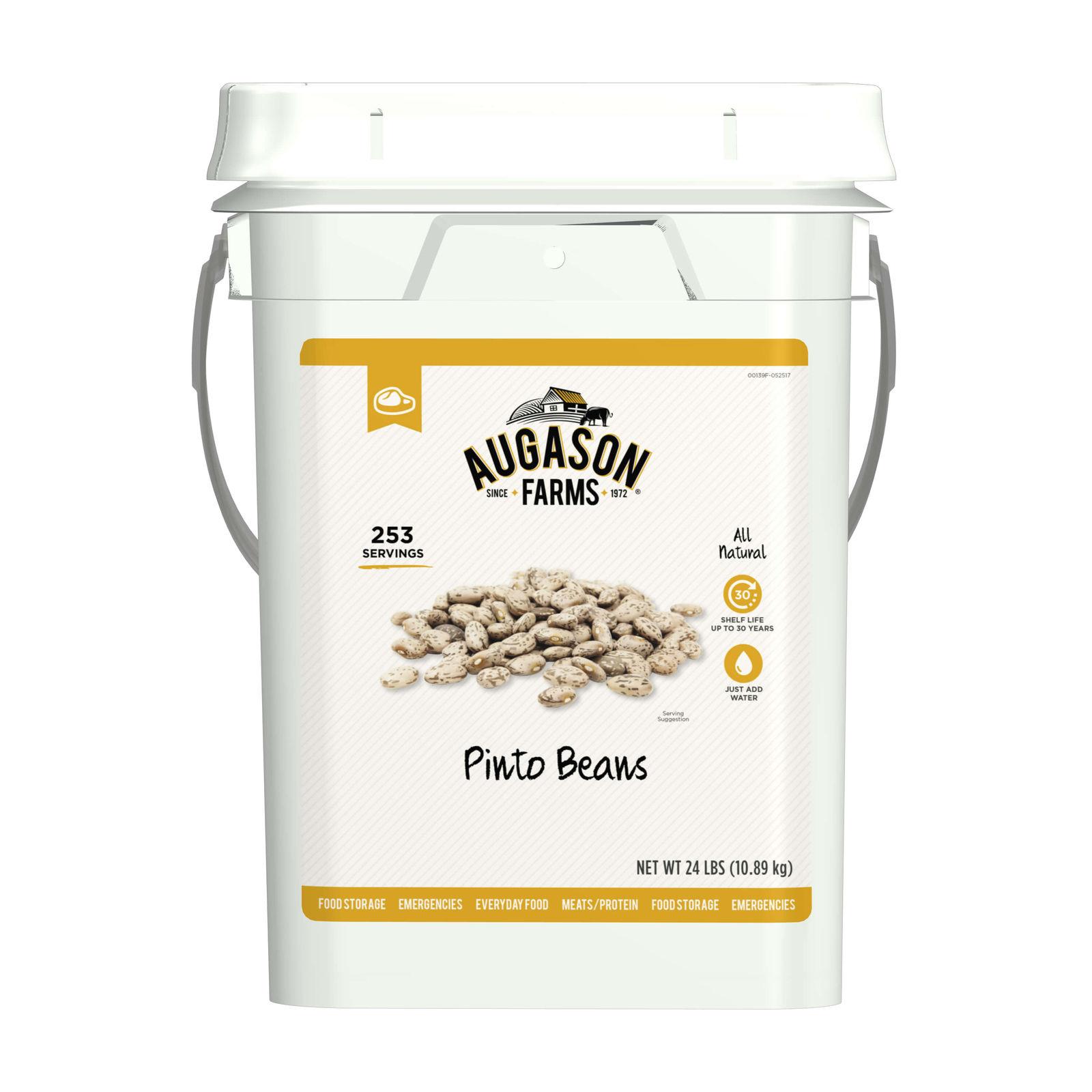 Augason Farms Pinto Beans Emergency Bulk Food Storage 24 Pound 4-Gallon Pail 253 1