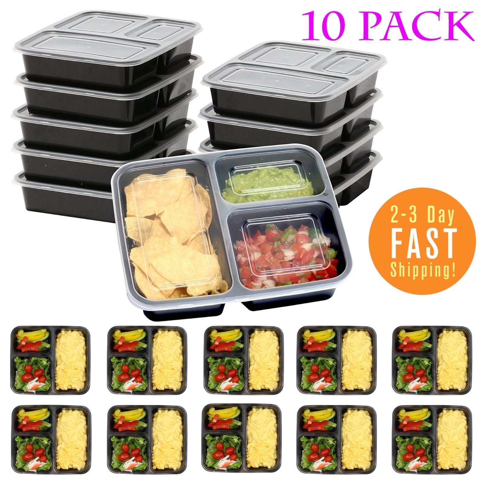 Meal Prep Containers Food Storage Reusable Microwavable Diet Boxes 3 Compartment 1