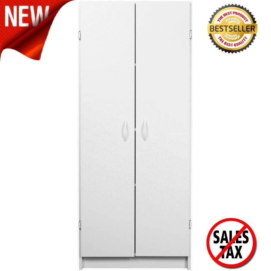 TALL STORAGE PANTRY KITCHEN CABINET White Wood Shelves Organizer Food Cupboard 1