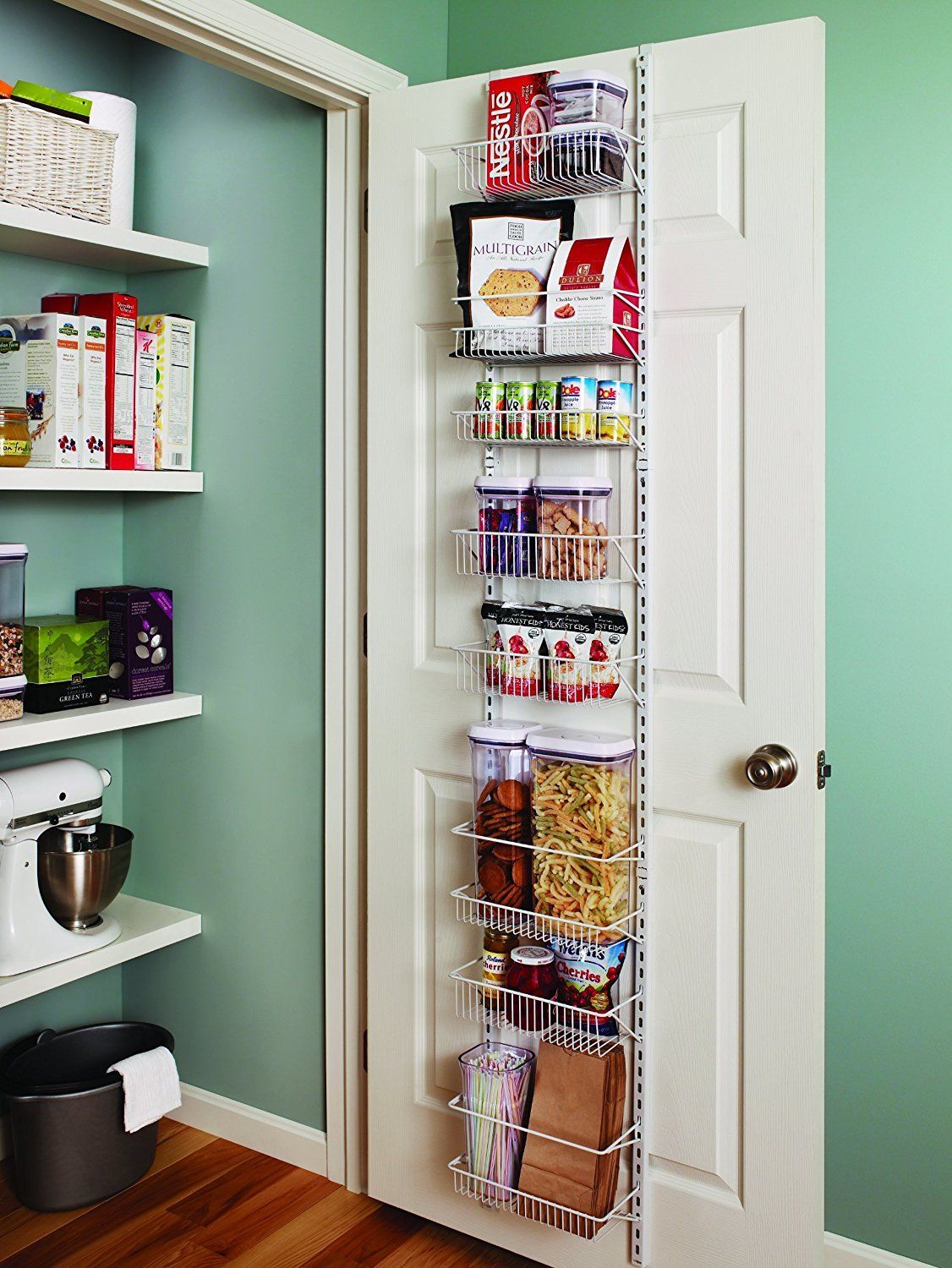 Adjustable Wall Door Storage Rack 8 Shelves Kitchen Pantry Organizer Food Basket 1