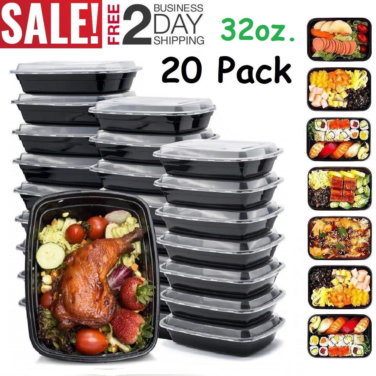 20 Pack Meal Prep Containers Food Storage 1 Compartment Reusable Microwave Safe 1